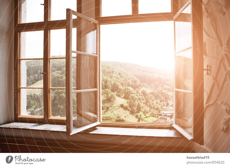 Nature Vacation & Travel Summer Sun Relaxation Calm Joy Far-off places Window Mountain Healthy Happy Garden Freedom Bright Room