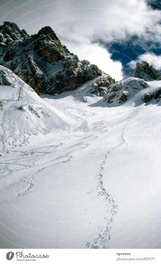 Tracks in the snow Vacation & Travel Skis Going Clouds Mountain range Karavanke Mountains Snow Feet Comb