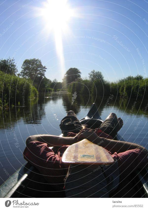 canoa tranquilo Back-light Canoe Paddle Summer Relaxation River Brook Aquatics Sun Water Sky Coast