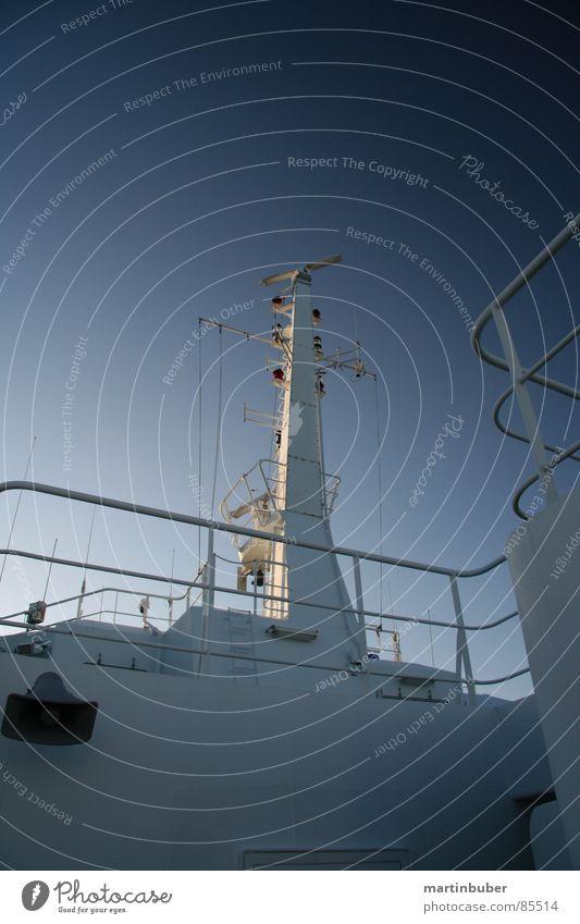 Ship ahoy High sea Navy Ocean Slate blue Denmark Watercraft Ferry Radar station Antenna Information Cold Surveillance Monitoring Search Machinery Maritime