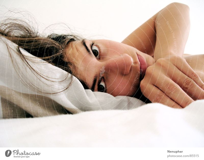 Good morning Soft Bed Dreamily Woman Portrait photograph Self portrait Smooth Marvel in the morning Eyes Rope Ask