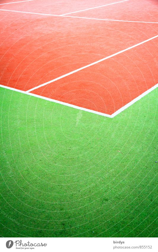 Tennis court red-green Sports Sporting Complex Line Esthetic Positive Clean Athletic Green Red Design Colour Passion Performance Complementary colour