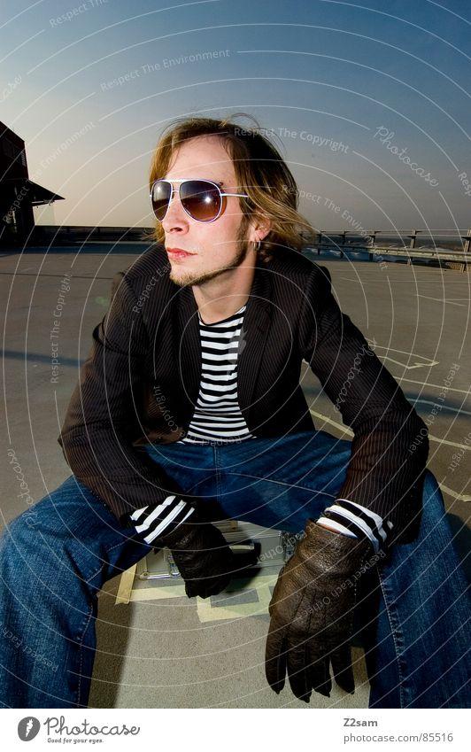 Man Style Sit Suitcase Sunglasses Easygoing Gloves Criminality Striped Mafia Crime scene Gangsta rap