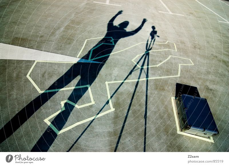 Human being Man Hand Joy Above Signs and labeling Stand Camera Arrow Suitcase Cross Tripod Crime scene