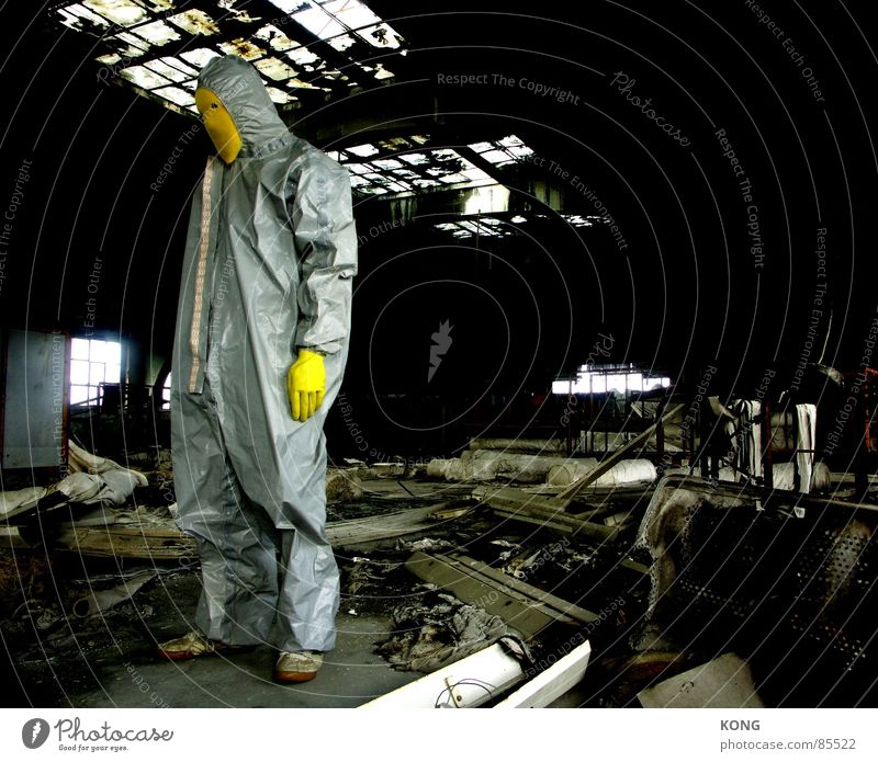 left Gray-yellow Yellow Decline Industrial Photography Gloves Suit Working clothes Trash Derelict Stand Loneliness Grief Room Individual Warehouse Depot Stay