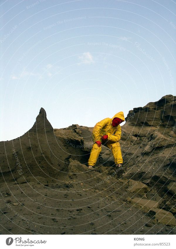 Sky Joy Yellow Gray Sand Earth Dirty Multiple Posture Floor covering Desert Mask Hill Suit