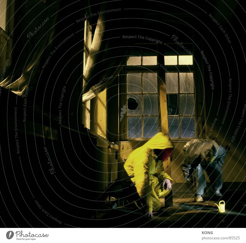 House (Residential Structure) Yellow Window Gray Room Construction site Communicate Observe Trash Mask Suit Decline Drape Testing & Control Window pane Curtain