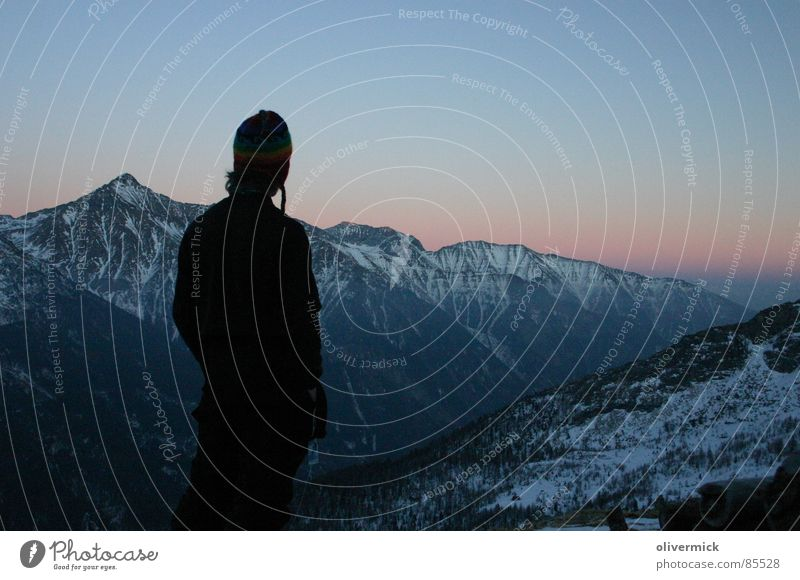 Human being Vacation & Travel Playing Mountain Dusk Ambient Ski tour