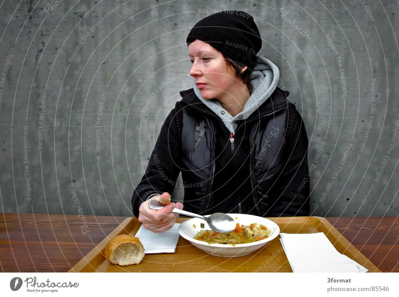 Woman Cold Wall (building) Gray Eating Nutrition Academic studies Table Kitchen University & College student Meal Cap Delicious Plate Captured Lunch