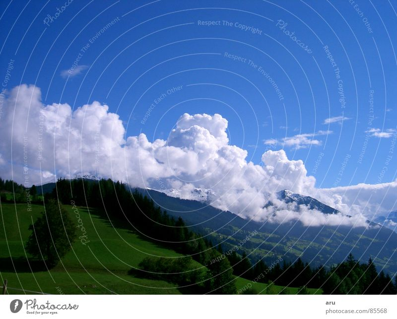 mountain view Summer Vantage point Sky Clouds Mountain Nature Landscape mountain spring Canopy (sky) warm season
