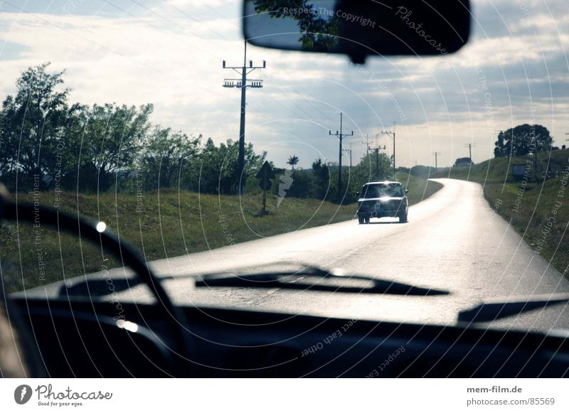Nature Summer Clouds Rain Road traffic Environment Horizon Transport Driving Asphalt Cuba Thunder and lightning Broken Motoring Pavement Vintage car