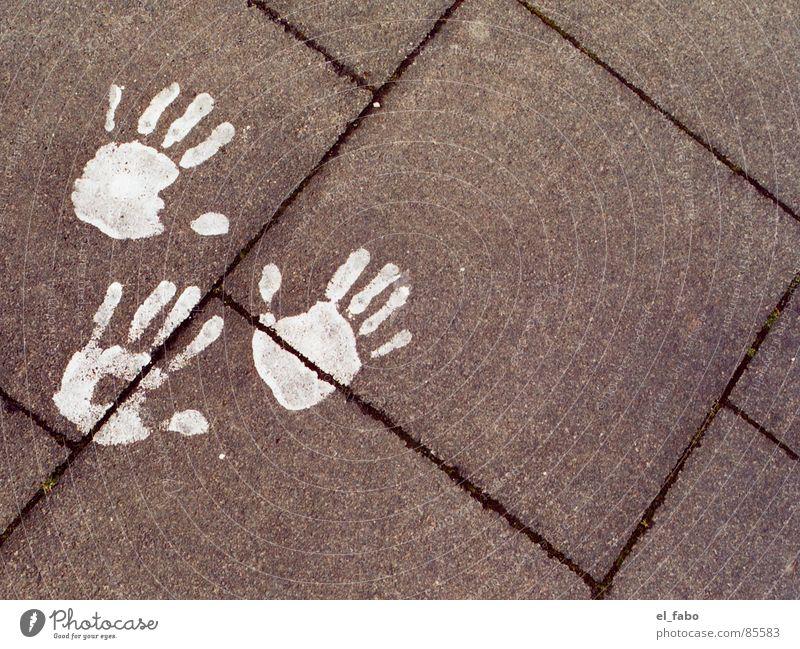 tripod Hand Fingers Curbside Art Concrete White Siegburg Colour handprint steep don bosco house Boredom makes you creative Paving tiles Infancy