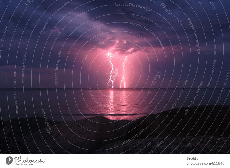 Baltic flashes Nature Air Water Sky Storm clouds Night sky Horizon Climate Weather Thunder and lightning Lightning Rock Coast Baltic Sea Ocean Exceptional