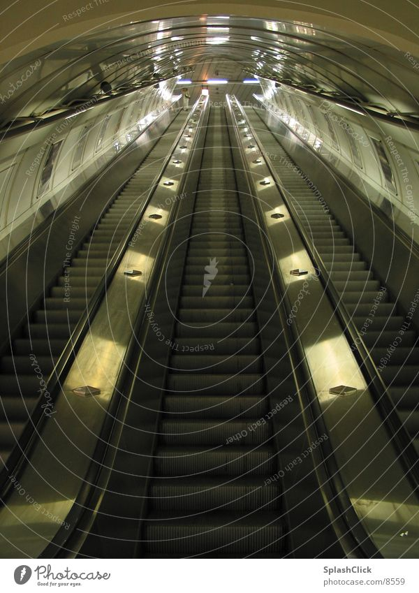 escalator Escalator Tunnel Underground Transport Stairs symmetry
