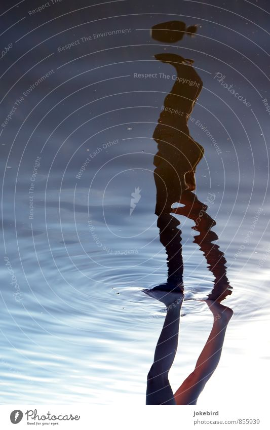 Don't lose your head Head Legs Feet 1 Human being Water Ease Surface of water Water reflection Reflection Silhouette Hover Headless Colour photo Exterior shot