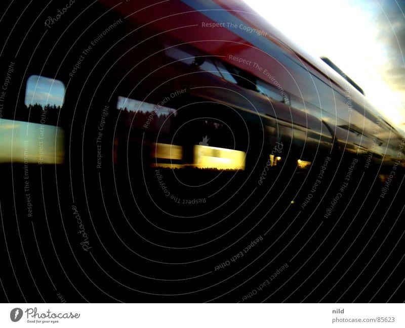 Power Transport Railroad Force Speed Lawn Mirror Railroad tracks Window pane Mirror image Direct Snapshot Commuter trains Train travel Acceleration