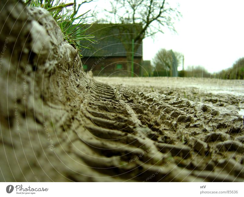 House (Residential Structure) Street Lanes & trails Dirty Tracks Farm Fence Furrow Mud Skid marks Slick Car tire Suspension