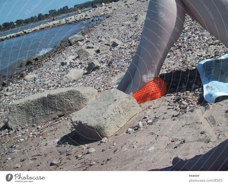 on the beach Beach Footwear Woman Human being River Legs Orange Stone