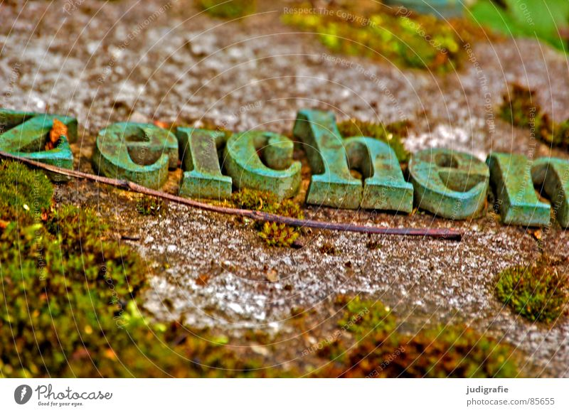 Green Stone Characters Letters (alphabet) Derelict Rust Typography Word Twig Cemetery Macro (Extreme close-up) Tombstone Verdigris Serif Oxydation