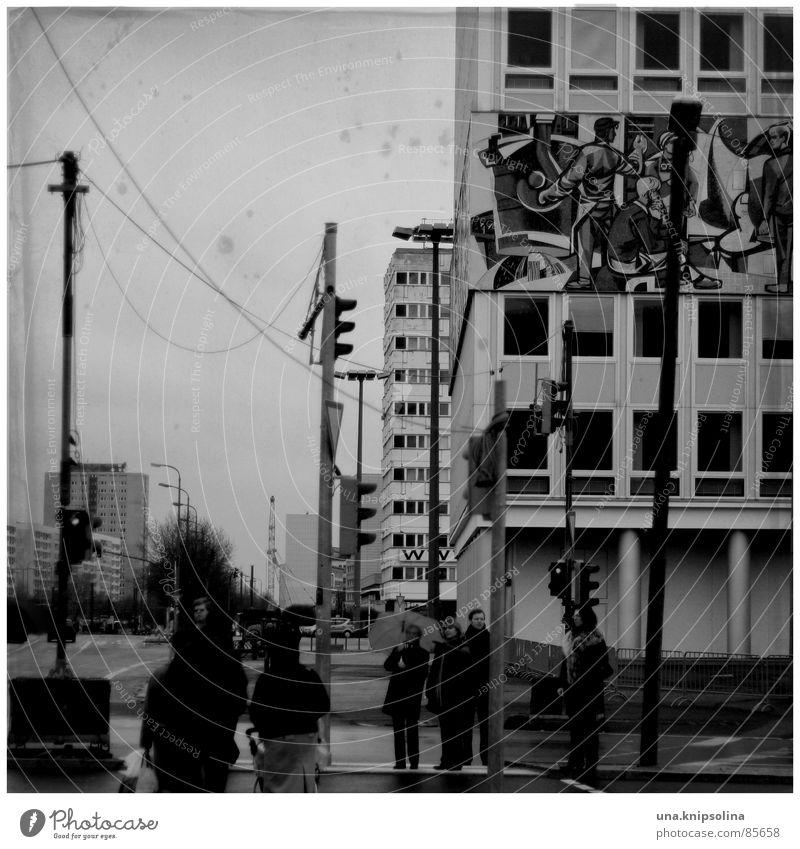 Human being Cold Berlin Gray Ice Germany Rain Fresh Wet Frost Asphalt Umbrella Lantern Pavement Damp GDR