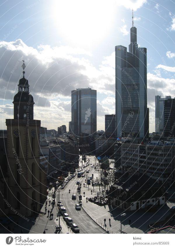 Street Germany Transport Frankfurt Main Downtown Commerz Bank