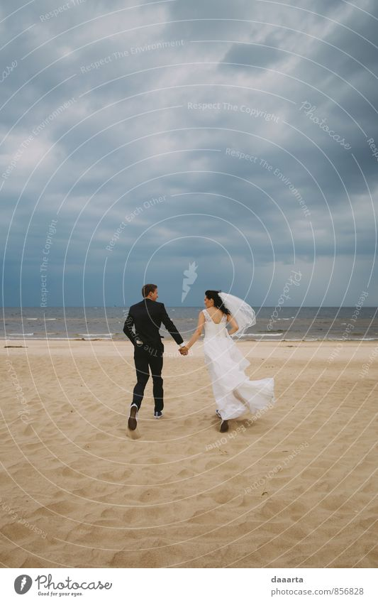run for love Sky Clouds Joy Beach Life Coast Love Healthy Feasts & Celebrations Sand Couple Leisure and hobbies Family & Relations Lifestyle Earth Elegant