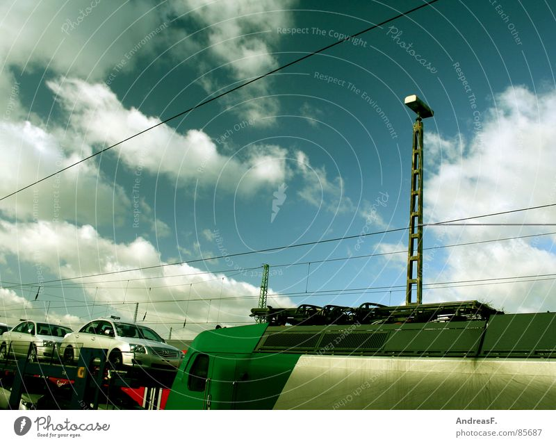 Sky Sun Blue Clouds Weather Railroad Industry Logistics Railroad tracks Train station Electricity pylon Transmission lines Blue sky Engines Rail transport Freight train