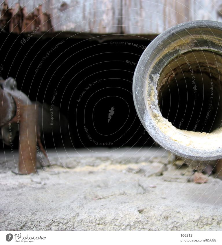 PHOTOCASE (c) FLOW PIPE Drainpipe Black Square Practical Steel Trash Disgust Derelict Decompose Drainage system Opening Looking Mysterious Old building Wood