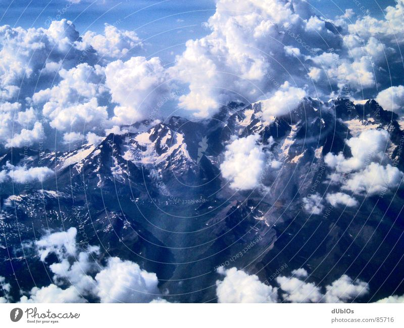 The Alps Picture 1 Austria Airplane Clouds Bird's-eye view Sky Mountain Snow