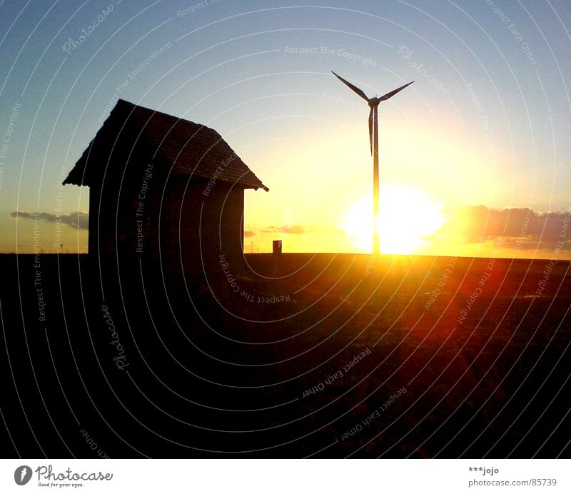 Sun Black Power Energy industry Force Romance Hill Wind energy plant Hut Dusk High voltage power line Painted Circle Electricity generating station Engines