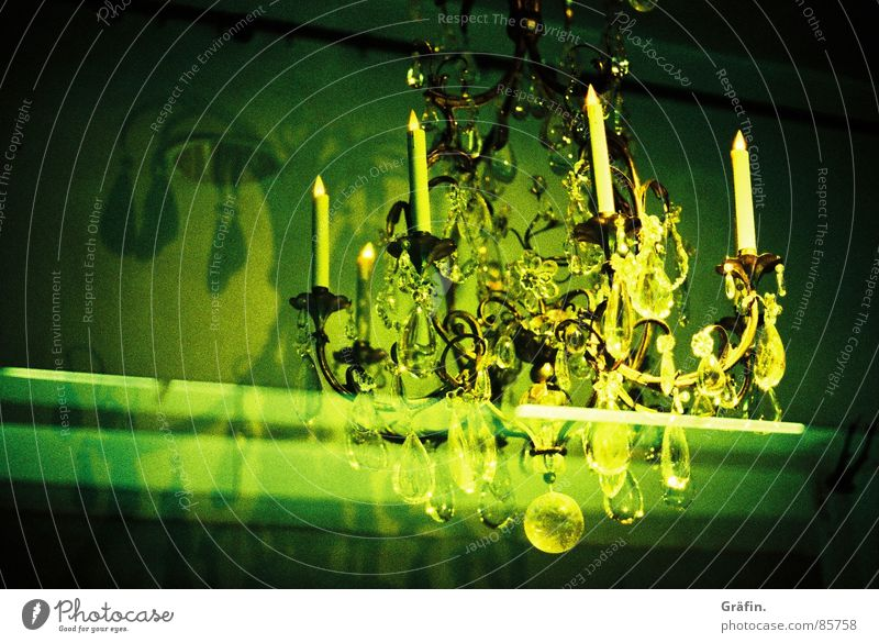 Noble pendants Chandelier Candlestick Green Light Shop window Window Night Store premises Glittering Shadow Electric bulb Flash Lomography Crystal structure