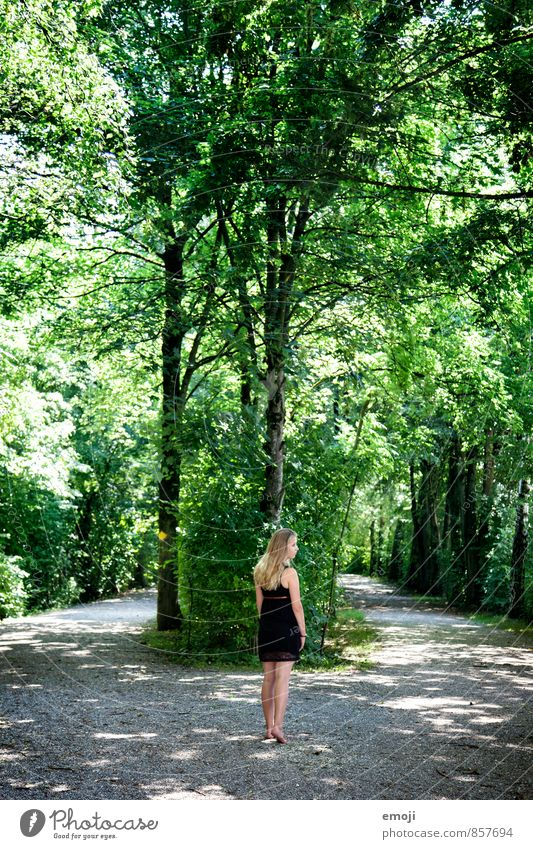 green Feminine Young woman Youth (Young adults) 1 Human being 18 - 30 years Adults Environment Nature Summer Beautiful weather Tree Foliage plant Park Forest
