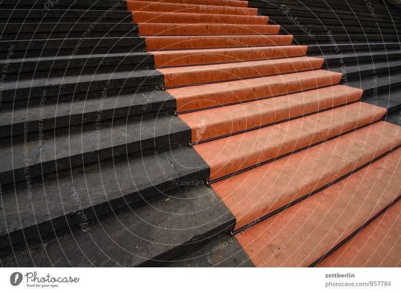 Red carpet Stairs Landing Go up Descent Career Carpet Floor covering Pavement Feet Steps Granite Dome Gendarmenmarkt Berlin Concert House Classicism
