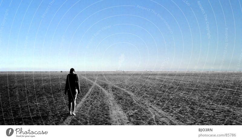 Woman Sky Beach Calm Loneliness Colour Dream Sadness Lanes & trails Think Coast Wait Going Horizon Empty Grief