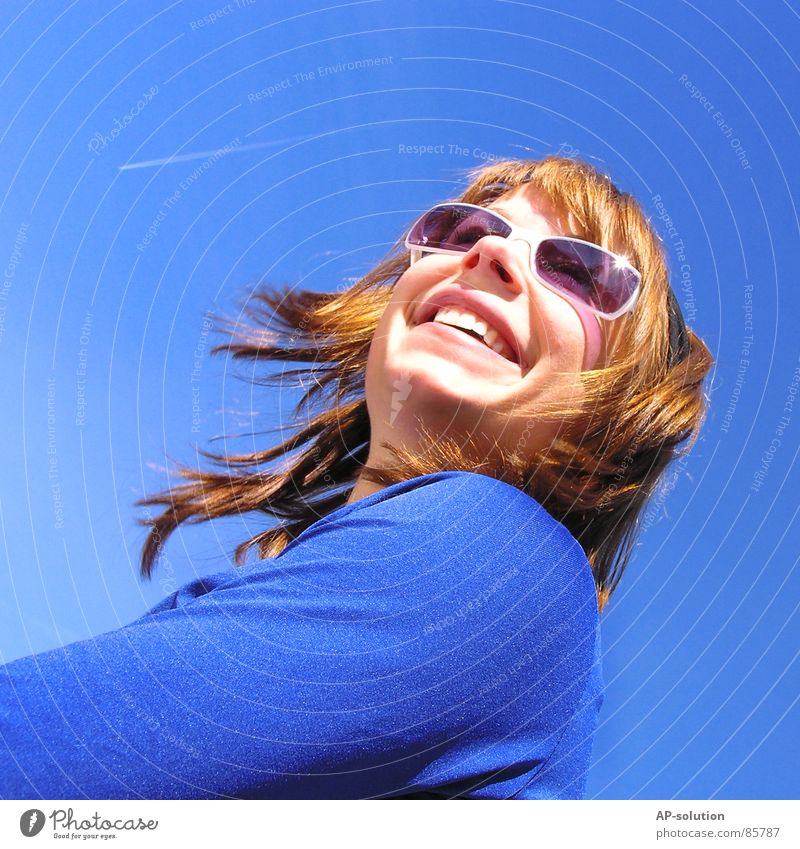 sky blue Well-being Woman Grinning Spring Sky blue Sunglasses Spring fever Emotions Airplane Jet Style Federal State of Tyrol Spirited Diagonal Sunbathing