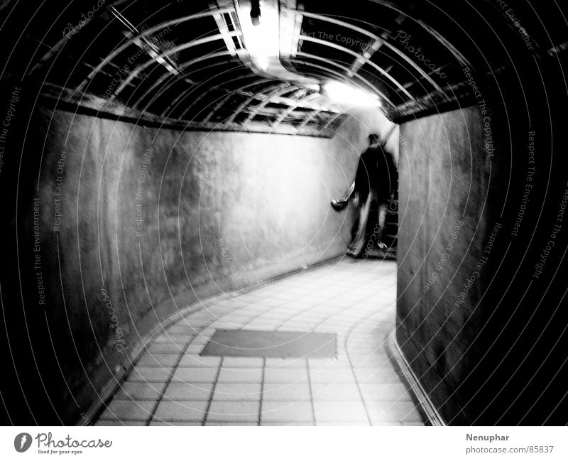 Tube Entering Tunnel Subsoil Downward Dark Entrance Underground Surprise Expectation Pedestrian underpass Black & white photo at the end of the tunnel