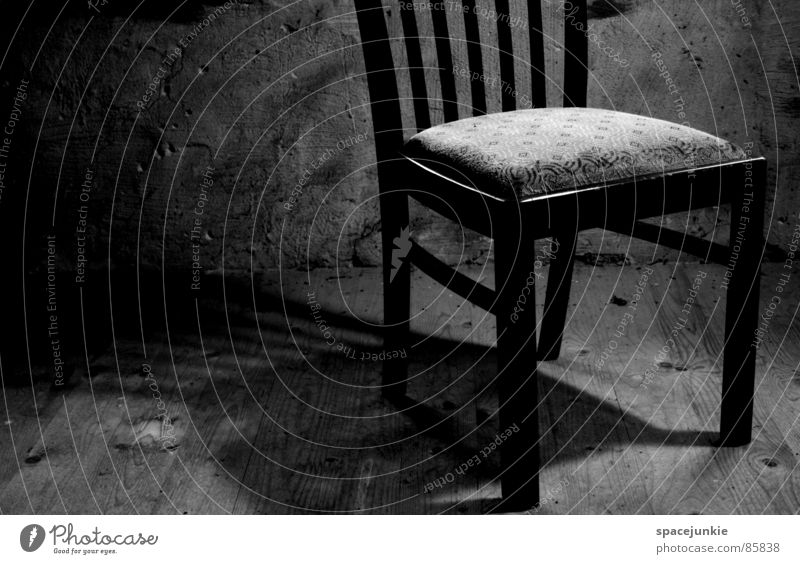 solitary Attic Wall (barrier) Rustic Loneliness Cold Pattern Darken Rural Grief Distress Chair Shadow Hallway Black & white photo Lighting Floor covering