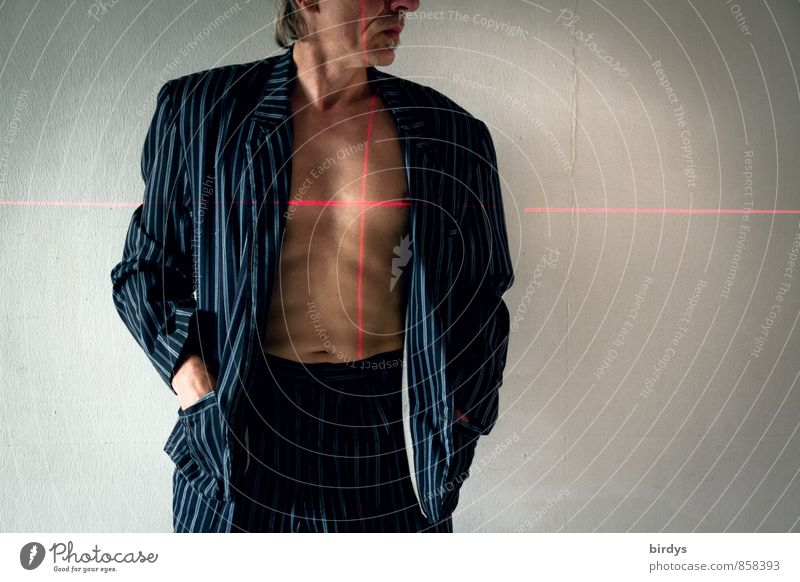 Man with jacket, suit and naked torso with a crosshair of laser lines on the heart Adults Body Head 1 Human being 45 - 60 years Suit Jacket Crosshair Laser