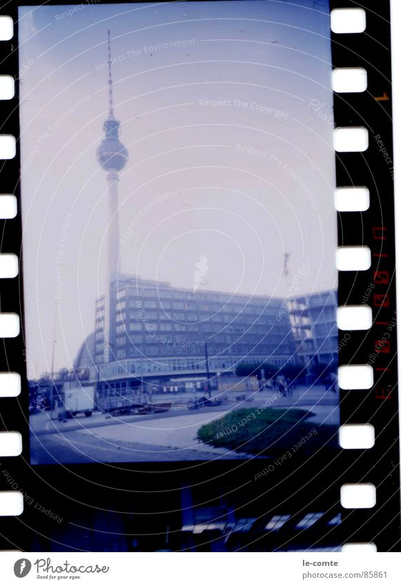 Blue Berlin Retro Film industry Monument Landmark Berlin TV Tower Capital city Alexanderplatz