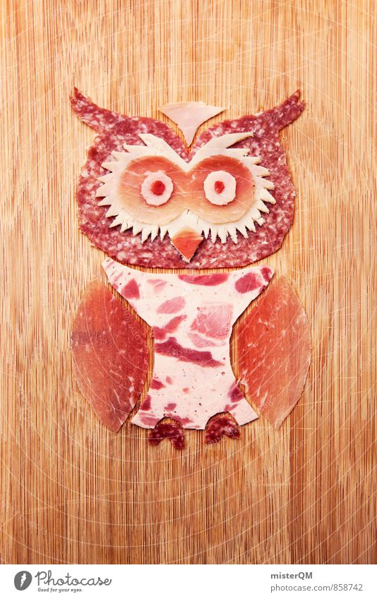 Sausage lover. Elma Eule. Art Work of art Esthetic Owl birds Owl eyes Sausages production Meat Salami Chic Ecological Organic produce Animal Bird Home-made