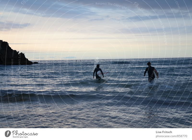 and go... Masculine 2 Human being 18 - 30 years Youth (Young adults) Adults Water Sky Summer Waves Coast Ocean Surfer Surfboard Surfing Wetsuit Walking Sports