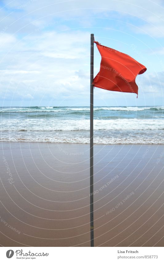 Water Red Beach Coast Waves Wind Flag Storm
