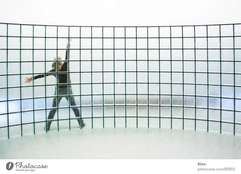 cross-linked Wall (building) Transparent Vaulting Interlaced Matrix Grid Bright background Glass block Glass wall Woman Rear view Stretching Cyber Cyberspace