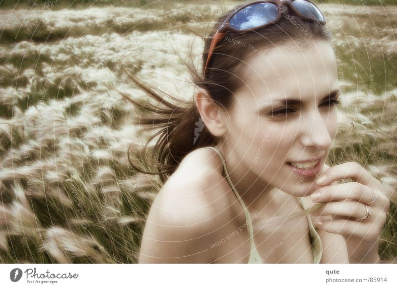 Woman Wind Young lady Glade Sweet grass