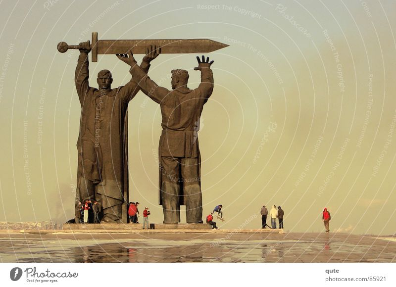 Giants Monument Statue Man Power Force strong memorial Magnitogorsk Men smoke