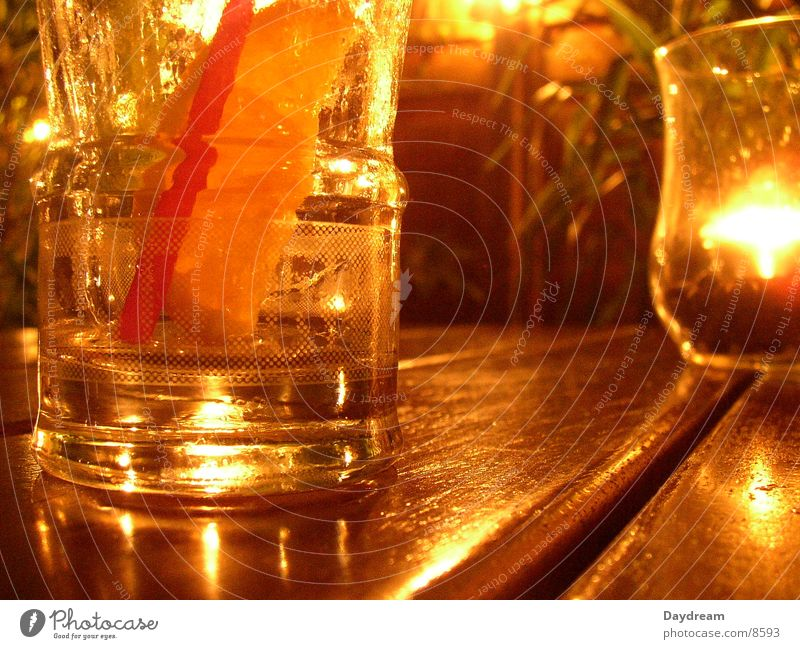 Orange Glass Table Candle Club Alcoholic drinks Aperitif