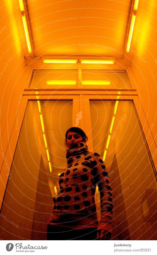 Pose in SCI-FI Rio de Janeiro Light Yellow Posture Woman Radiation Style Design Shaft of light Neon light Yolk Clothing casual Floodlight Glass Perspective