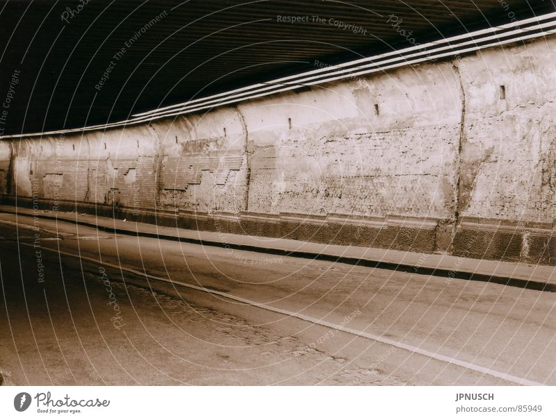 Old Loneliness Street Wall (building) Wall (barrier) Road traffic Industry Asphalt Tunnel Decline Traffic infrastructure Cobblestones Doomed Pavement Sepia