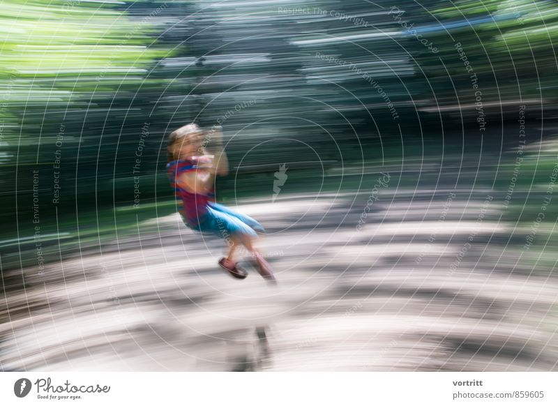 Human being Child Tree Girl Joy Forest Movement Feminine Playing Leisure and hobbies Infancy Adventure Driving 8 - 13 years Hang Rotate