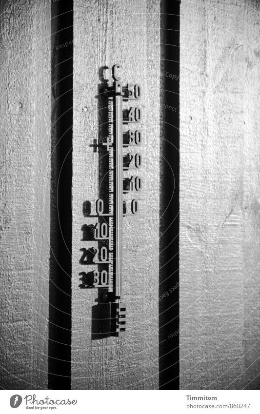 26° in the sun. Vacation & Travel Thermometer Denmark Vacation home Wall (barrier) Wall (building) Shadow Line Black & white photo Wood Digits and numbers